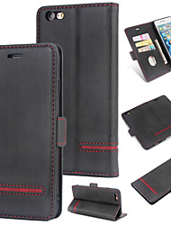 Недорогие -Кейс для Назначение Apple iPhone 6 Кошелек / Бумажник для карт / Флип Кейс на заднюю панель Однотонный Твердый Кожа PU