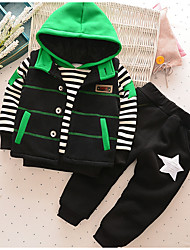 cheap -Baby Boys' Basic Daily Solid Colored / Striped Long Sleeve Regular Cotton Clothing Set Green