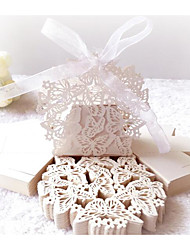 cheap -irregular Card Paper Favor Holder with Ribbons / Embossed Favor Boxes - 10pcs