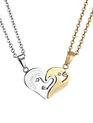 cheap -Women's Pendant Necklace Cut Out Broken Heart Heart life Tree Best Friends Friendship yin yang Ladies Romantic Fashion Stainless Steel Gold Black 55 cm Necklace Jewelry 1 set For Gift Daily