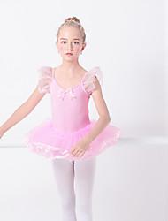 cheap -Ballet Dresses Girls' Training / Performance Elastane / Lycra Wave-like / Split Joint Short Sleeve Dress