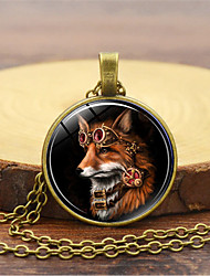 cheap -Men's Charm Necklace Classic Fox Vintage Steampunk Glass Alloy Gold Black Silver 45+5 cm Necklace Jewelry 1pc For Daily Holiday