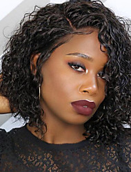 cheap -Human Hair Lace Front Wig Bob Short Bob Kardashian style Brazilian Hair Curly Black Wig 130% Density with Baby Hair Natural Hairline For Black Women 100% Virgin 100% Hand Tied Women's Short Human