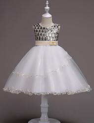 cheap -Princess Midi / Medium Length Pageant Flower Girl Dresses - Organza / Tulle / Satin Chiffon Sleeveless Jewel Neck with Tiered / Paillette