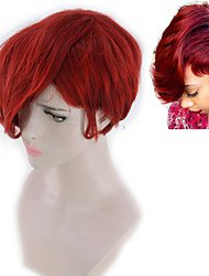 cheap -Synthetic Wig Loose Curl Asymmetrical Wig Short Red Synthetic Hair 5 inch Women's Best Quality Red