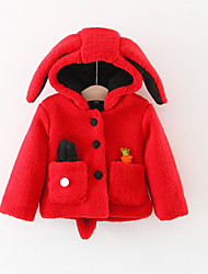 cheap -Baby Girls' Basic Daily Solid Colored Long Sleeve Regular Cotton Jacket & Coat Red