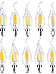 cheap -YWXLIGHT® 10pcs 6 W LED Candle Lights LED Filament Bulbs 500-600 lm E14 C35 6 LED Beads COB Warm White White 220-240 V