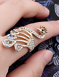 cheap -Women's Ring 1pc Gold Rhinestone Alloy Ladies Stylish Classic Daily Jewelry Hollow Out Peacock