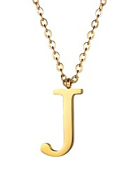 cheap -Women's Pendant Necklace Logo Name Alphabet Shape Ladies Fashion Stainless Steel Gold Black Silver 55 cm Necklace Jewelry 1pc For Gift Daily