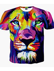cheap -Men's Plus Size 3D Graphic Lion Print T-shirt Daily Weekend Round Neck Purple / Summer / Short Sleeve / Animal