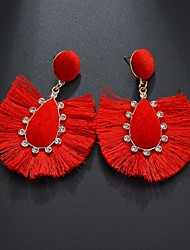 cheap -Women's Drop Earrings Raffia Earrings Tassel Pear Ladies Tassel Boho Rhinestone Earrings Jewelry Rainbow / Light Red / Blue For New Year 1 Pair