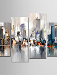 cheap -Hand-Painted Canvas Oil Painting Abstract City Landscape Set Of 4 For Home Decoration With Frame Ready To Hang With Stretched Frame
