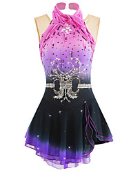 cheap -Figure Skating Dress Women's Girls' Ice Skating Dress Black+Purple Halo Dyeing Spandex Activewear Competition Skating Wear Handmade Curve Classic Ice Skating Figure Skating