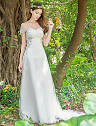 cheap -A-Line V Neck Court Train Lace / Tulle Made-To-Measure Wedding Dresses with Appliques / Lace by LAN TING Express