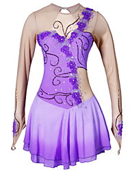 cheap -Figure Skating Dress Women's Girls' Ice Skating Dress Purple Flower Halo Dyeing Elastane High Elasticity Competition Skating Wear Handmade Classic Long Sleeve Ice Skating Figure Skating