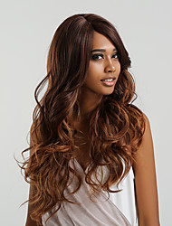 cheap -Synthetic Lace Front Wig Body Wave Side Part Lace Front Wig Long Brown Light Blonde Medium Brown / Dark Auburn Black / Rose Burgundy Synthetic Hair 24 inch Women's Color Gradient Brown MAYSU
