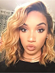 cheap -Human Hair Lace Front Wig Bob Short Bob Wendy style Brazilian Hair Body Wave Blonde Wig 130% Density with Baby Hair Natural Hairline For Black Women 100% Virgin Bleached Knots Women's Short Human