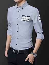 cheap -Men's Wedding Party Daily Basic Shirt - Solid Colored Print Black