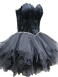 abordables -Cygne noir Petite Robe Noire Elégant Robe Bal Masqué Femme Tulle Costume Noir Vintage Cosplay Retour Sans Manches