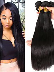 cheap -3 Bundles Peruvian Hair Straight Human Hair Unprocessed Human Hair Headpiece Natural Color Hair Weaves / Hair Bulk Hair Care 8-28 inch Black Natural Color Human Hair Weaves Soft Silky Smooth Human