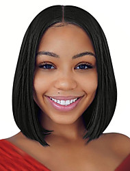 cheap -Synthetic Wig / Synthetic Lace Front Wig Straight Kardashian Style Middle Part Lace Front Wig Black Natural Black Dark Brown Synthetic Hair 14 inch Women's Soft / Best Quality / Middle Part Bob Black