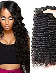 cheap -4 Bundles Peruvian Hair Deep Curly Human Hair Unprocessed Human Hair Natural Color Hair Weaves / Hair Bulk Hair Care Extension 8-28 inch Natural Color Human Hair Weaves Extender Silky Best Quality