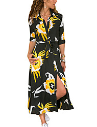 cheap -Women's Daily Basic Slim Sheath Dress - Floral Print High Waist Shirt Collar White Gray Yellow XL XXL XXXL