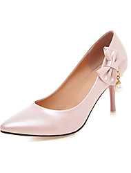 cheap -Women's PU(Polyurethane) Spring &  Fall Heels Stiletto Heel Pointed Toe Bowknot / Imitation Pearl Blue / Pink / Almond / Wedding / Party & Evening