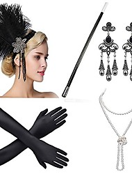 cheap -The Great Gatsby Charleston Vintage 1920s Roaring Twenties Costume Accessory Sets Flapper Headband Women's Feather Costume Head Jewelry Pearl Necklace Black / Golden / Golden+Black Vintage Cosplay