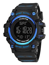 cheap -Men's Sport Watch Digital Watch Japanese Digital Silicone Black 30 m Water Resistant / Waterproof Calendar / date / day Dual Time Zones Digital Fashion - Black Black / Blue / Stopwatch / Noctilucent