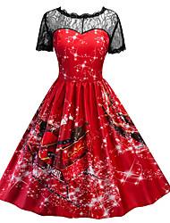 cheap -Women's Christmas Daily Basic Slim Swing Dress - Floral High Waist Blue Red Green S M L XL