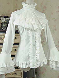 cheap -Princess Lolita Victorian Blouse / Shirt Women's Female Cotton Japanese Cosplay Costumes White Solid Colored Vintage Flare Cuff Sleeve Long Sleeve