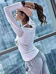 Недорогие -Жен. Аппликация Футболка для бега Йога Вверх Сплошной цвет Zumba Йога Бег Футболка Верхняя часть Длинный рукав Спортивная одежда Дышащий Впитывает пот и влагу свобода Слабоэластичная Тонкие
