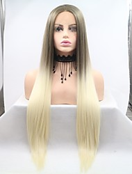 cheap -Synthetic Lace Front Wig kinky Straight Layered Haircut Lace Front Wig Blonde Medium Length Light golden Synthetic Hair 26 inch Women's Women Blonde Light Brown Sylvia