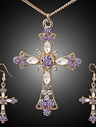 cheap -Women's AAA Cubic Zirconia Amethyst Drop Earrings Necklace Hanging Cross Earrings Hollow Out Cross Ladies Stylish Classic Rhinestone Earrings Jewelry Gold For Daily 1 set