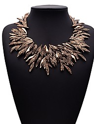 cheap -Women's Necklace Stack Leaf Ladies Hyperbole Ethnic Rhinestone Alloy Gold Silver 50 cm Necklace Jewelry 1pc For Daily