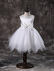 cheap -Princess / A-Line Knee Length / Medium Length Wedding / First Communion / Pageant Flower Girl Dresses - Tulle / Satin Chiffon / Polyester Sleeveless Jewel Neck with Faux Pearl / Bow(s) / Tier