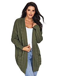 cheap -Women's Daily Street chic Solid Colored Long Sleeve Loose Regular Cardigan, Shirt Collar Fall / Winter Cotton Gray / Yellow / Army Green L / XL / XXL / High Waist