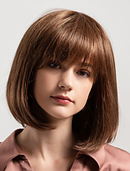 cheap -Human Hair Capless Wigs Human Hair Natural Straight Bob / Side Part / Short Hairstyles 2019 New Arrival / Natural Hairline Brown Medium Length Capless Wig Women's