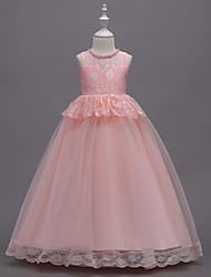 cheap -A-Line Floor Length Party / Birthday / Pageant Flower Girl Dresses - Chiffon / Lace Sleeveless Jewel Neck with Bow(s) / Pearls