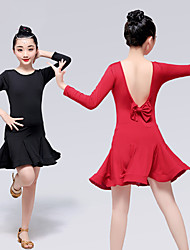 cheap -Latin Dance Dresses Girls' Training / Performance Elastane / Lycra Wave-like Long Sleeve Dress