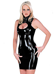 cheap -Dress Catsuit Skin Suit Cosplay Club Waitress Adults' Highschool Faux Leather Spandex Fabric Cosplay Costumes Women's Black Solid Colored Masquerade