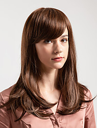 cheap -Human Hair Wig Short Natural Straight Bob Side Part Brown New Arrival Natural Hairline Capless Women's Brown 18 inch