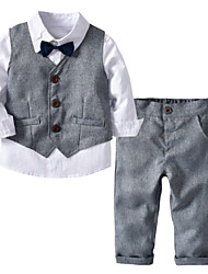 cheap -Baby Boys' Basic Daily Solid Colored Long Sleeve Regular Cotton Clothing Set Gray / Toddler