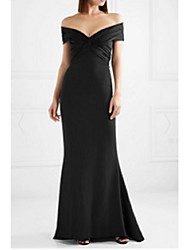 cheap -Mermaid / Trumpet Off Shoulder Sweep / Brush Train Crepe Minimalist Wedding Party Dress with Criss Cross 2020