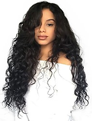 cheap -Remy Human Hair Unprocessed Human Hair 13x6 Closure Lace Front Wig Asymmetrical Deep Parting Side Part style Brazilian Hair Wavy Loose Wave Natural Wig 150% 250% Density with Baby Hair Natural