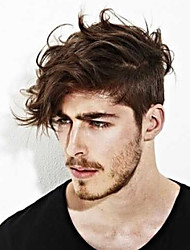 cheap -Men's Human Hair Toupees Straight 100% Hand Tied / Lace Front Soft