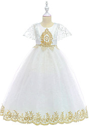 cheap -Ball Gown / Princess Midi / Long Length Flower Girl Dress - Poly&Cotton Blend Short Sleeve Jewel Neck with Embroidery / Tiered