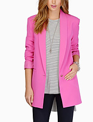 cheap -Women's Daily Basic Regular Blazer, Solid Colored Notch Lapel Long Sleeve Polyester White / Royal Blue