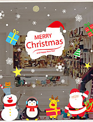 cheap -Christmas Cartoon Presents Window Film & Stickers Decoration Happy New Year / Christmas Holiday / Character PVC(PolyVinyl Chloride) Window Sticker / Door Sticker / Adorable